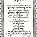 Pope Francis St. Francis Simple Prayer Scrolling Faith by Desiderata Gallery