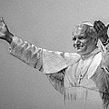 Pope John Paul II Bw by Ylli Haruni