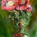 Poppies In A Poppy Vase by Carol Cavalaris