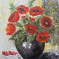 Poppies In A Vase by Maria Karalyos