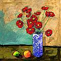 Poppies In A Vase With Fruit by Dale Moses