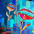 Poppies On Blue 1 by Barbara Griffin