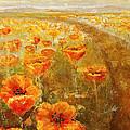Poppy Field  Triptic Middle by Kathleen Mrachek
