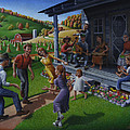 Porch Music And Flatfoot Dancing - Mountain Music - Appalachian Traditions - Appalachia Farm by Walt Curlee