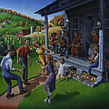 Porch Music And Flatfoot Dancing - Mountain Music - Farm Folk Art Landscape - Square Format by Walt Curlee