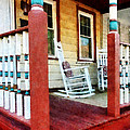 Porch With Red White And Blue Railing by Susan Savad