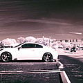 Porsche Car Side Profile Pink Near Infrared by Sally Rockefeller