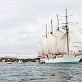 Juan Sebastian De Elcano Famous Tall Ship Of Spanish Navy Visits Port Mahon In Front Of Bloody Islan by Pedro Cardona Llambias