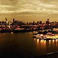Port Miami Golden Photopaint by Joseph Hedaya