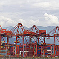 Port Of Vancouver Bc Cranes And Containers by Jit Lim