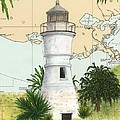 Port Pontchartrain Lighthouse La Chart Map Art by Cathy Peek