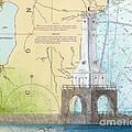 Port Washington Lighthouse Wi Nautical Chart Map Art by Cathy Peek