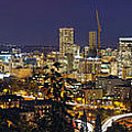 Portland Cityscape And Freeway At Blue Hour by Jit Lim