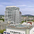 Portland Downtown Cityscape With River And Mountain by Jit Lim