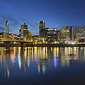 Portland Downtown With Hawthorne Bridge At Blue Hour by Jit Lim