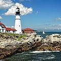 Portland Head Light In Maine by Mitchell R Grosky
