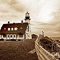 Portland Head Lighthouse In Sepia by Skip Willits