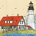 Portland Head Lighthouse Me Nautical Chart Map Art by Cathy Peek