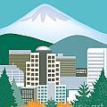 Portland Oregon Vertical Skyline by Karen Young