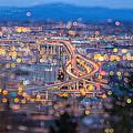 Portland Marquam Freeway With Bokeh Lights by Jit Lim