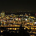 Portland Night Skyline Along Willamette River Panorama by David Gn