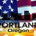 Portland Or Patriotic Large Cityscape  by Angelina Tamez