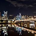 Portland Oregon At Night by Don Schwartz