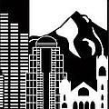 Portland Oregon Skyline Black And White Illustration by Jit Lim