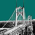Portland Skyline St. Johns Bridge - Sea Green by DB Artist