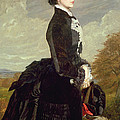 Portrait Of A Lady In Black With A Dog by James Archer
