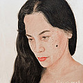 Portrait Of A Long Haired Filipina Beautfy With A Mole On Her Cheek by Jim Fitzpatrick