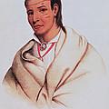 Portrait Of A-mis-quam, A Winnebago Brave Coloured Engraving by American School