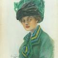 Portrait Of A Woman Wearing A Green Gown by Stuart Travis