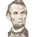 Portrait Of Abraham Lincoln On White Background by Keith Webber Jr