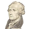 Portrait Of Alexander Hamilton On White Background by Keith Webber Jr