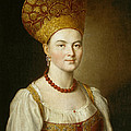 Portrait Of An Unknown Woman In Russian Costume by Ivan Argunov
