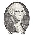 Portrait Of George Washington On White Background by Keith Webber Jr