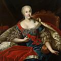 Portrait Of Johanna-elizabeth, Electress Of Anhalt-zerbst, C.1746 Oil On Canvas by Antoine Pesne