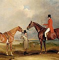 Portrait Of John Drummond On A Hunter With A Groom Holding His Second Horse by John E Ferneley