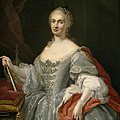 Portrait Of Maria Amalia Of Saxony As Queen Of Naples Overlooking The Neapolitan Crown by Giuseppe Bonito