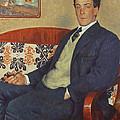 Portrait Of Peter Kapitza 1926 by Boris Mihajlovic Kustodiev