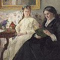 Portrait Of The Artist S Mother And Sister by Berthe Morisot