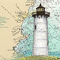 Portsmouth Harbor Lighthouse Nh Nautical Chart Map Art by Cathy Peek