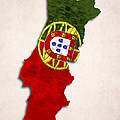 Portugal Map Art With Flag Design by World Art Prints And Designs