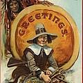 Postcard Of Pilgrim Plucking A Turkey by American School