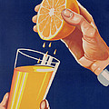 Poster With A Glass Of Orange Juice by Israeli School