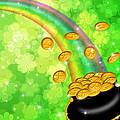 Pot Of Gold Shamrock Blurred Background by Jit Lim