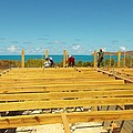 Pouring Beams On Beach House In Progress by Artist Ai