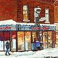 Poutine Lafleur Rue Wellington Verdun Art Montreal Paintings Cold Winter Walk City Shops Cspandau   by Carole Spandau