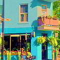 Powder Blue Corner Cafe Elses Pub Rue Roy  Montreal Sunny Summer Cafe Scene Carole Spandau by Carole Spandau